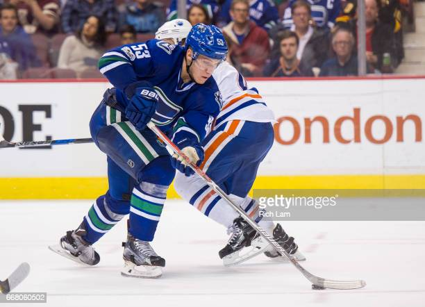 Bo Horvat of the Vancouver Canucks skates with the puck in NHL action against the Edmonton Oilers on April 8 2017 at Rogers Arena in Vancouver...