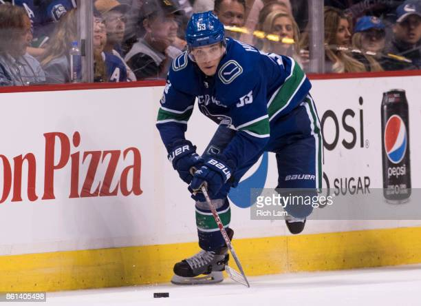 Bo Horvat of the Vancouver Canucks skates with the puck in NHL action against the Edmonton Oilers on October 7 2017 at Rogers Arena in Vancouver...
