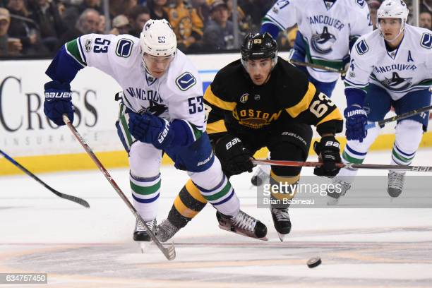 Bo Hovart of the Vancouver Canucks skates after the puck against Brad Marchand of the Boston Bruins at the TD Garden on February 11 2017 in Boston...