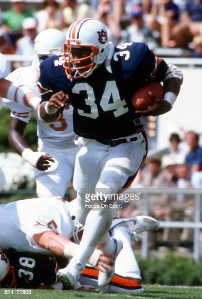 Bo Jackson of the Auburn Tigers carries the ball against the Texas Longhorns during an NCAA college football game at JordanHare Stadium September 3...