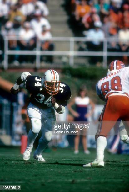 Bo Jackson of the Auburn Tigers runs a pass rout against the Florida Gators during an NCAA college football game at JordanHare Stadium October 29...