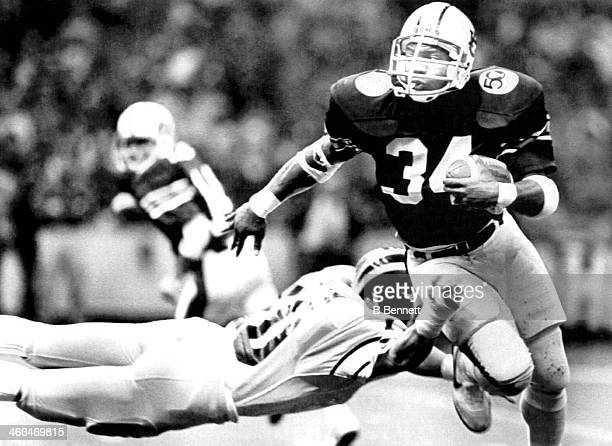 Bo Jackson of the Auburn Tigers runs with the ball during the 1984 Sugar Bowl against the Michigan Wolverines on January 2 1984 at the Louisiana...