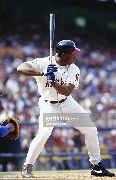 Bo Jackson of the California Angels bats during the game against the Los Angeles Dodgers at Anaheim Stadium on April 3 1994 in Anaheim California