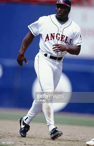 Bo Jackson of the California Angels goes back to second during the game against the Oakland Athletics at Anaheim Stadium on May 8 1994 in Anaheim...