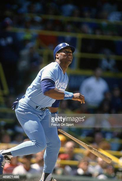 Bo Jackson of the Kansas City Royals bats against the Chicago White Sox during an Major League Baseball game circa 1987 at Comiskey Park in Chicago...