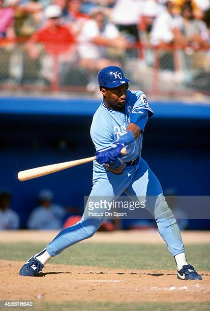 Bo Jackson of the Kansas City Royals bats during an Major League Baseball spring training game circa 1989 Jackson played for the Royals from 198690
