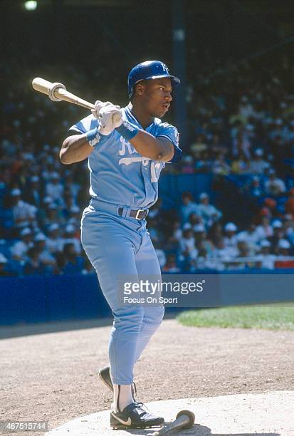Bo Jackson of the Kansas City Royals looks on from the ondeck circle during an Major League Baseball game circa 1989 Jackson played for the Royals...