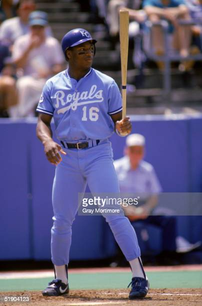 Bo Jackson of the Kansas City Royals stands at the plate as he prepares to bat during a game in July of 1987