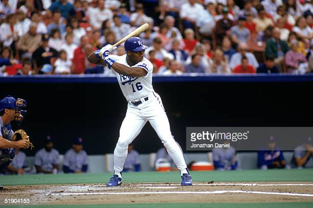 Bo Jackson of the Kansas City Royals stands ready at the plate during a game in the 1990 season at Royals Stadium in Kansas City Missouri