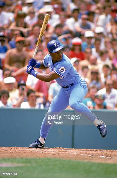 Bo Jackson of the Kansas City Royals steps into the swing during a season game Bo Jackson played for the Kansas City Royals from 19861990