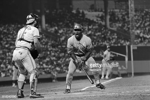 Bo Jackson of the Kansas City Royals vents his anger after being called out on strikes in the 4th inning of the Royals' game against Baltimore