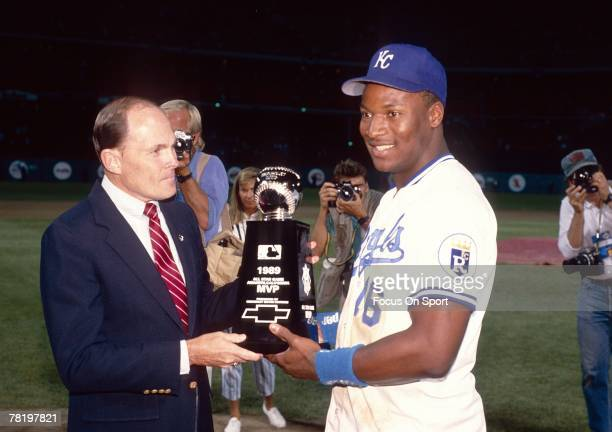 Bo Jackson of the Kansas City Royals wins the Most Valuable Player award in the MLB All Star Game July 11 in Anaheim Ca The American Leauge beat the...