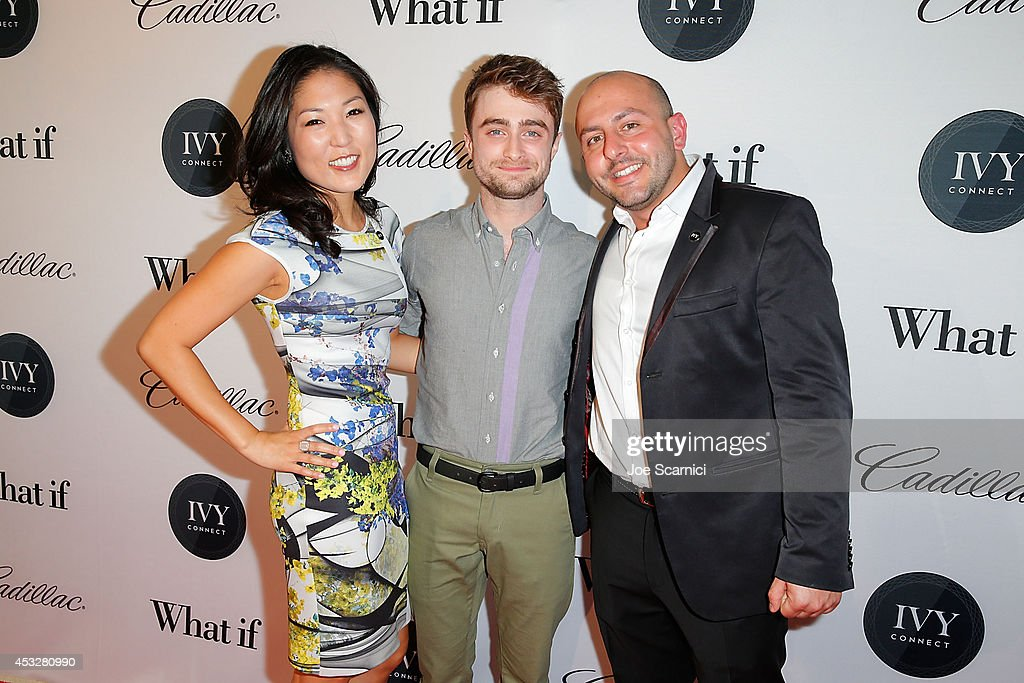 Bo Kim, Daniel Radcliffe and Beri Meric attend IvyConnect's Inaugural Ivy Innovator Awards with Daniel Radcliffe at Landmark Theatre on August 6, 2014 in Los Angeles, California.