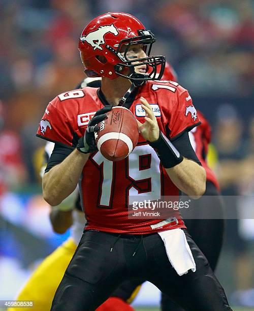 Bo Levi Mitchell of the Calgary Stampeders passes upfield during the 102nd Grey Cup Championship Game against the Hamilton TigerCats at BC Place...