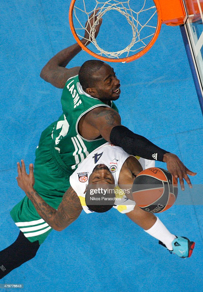 Bo McCalebb,Ê#4 of Fenerbahce Ulker Istanbul competes with <a gi-track='captionPersonalityLinkClicked' href=/galleries/search?phrase=Stephane+Lasme&family=editorial&specificpeople=814288 ng-click='$event.stopPropagation()'>Stephane Lasme</a>, #11 of Panathinaikos Athens during the 2013-2014 Turkish Airlines Euroleague Top 16 Date 11 game between Panathinaikos Athens v Fenerbahce Ulker Istanbul at Olympic Sports Center Athens on March 20, 2014 in Athens, Greece.