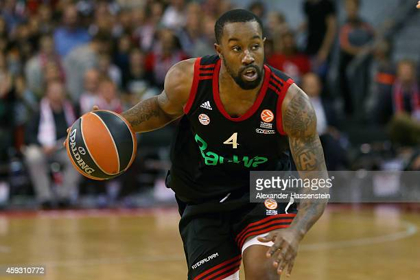 Bo McCaleeb of Bayern Muenchen in action during the Euroleague Basketball match between FC Bayern Munich and FC Barcelona at Audi Dome on November 20...