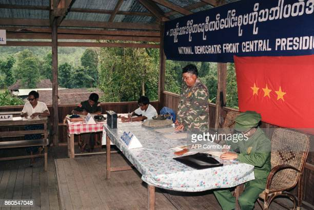 Bo Mya leader of the Karen rebels opens a meeting in his jungle guerilla base with representatives of the other ethnic groups fighting against Rangon...