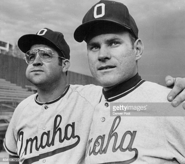 Bo Osborne and Steve Boros of the Omaha Royals look over new Mile High Stadium before Friday night's game with Denver Bears Osborne and Boros knocked...