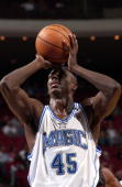 Bo Outlaw of the Orlando Magic shoots a free throw attempt against the Miami Heat during a preseason NBA game October 27 2005 at the TD Waterhouse...