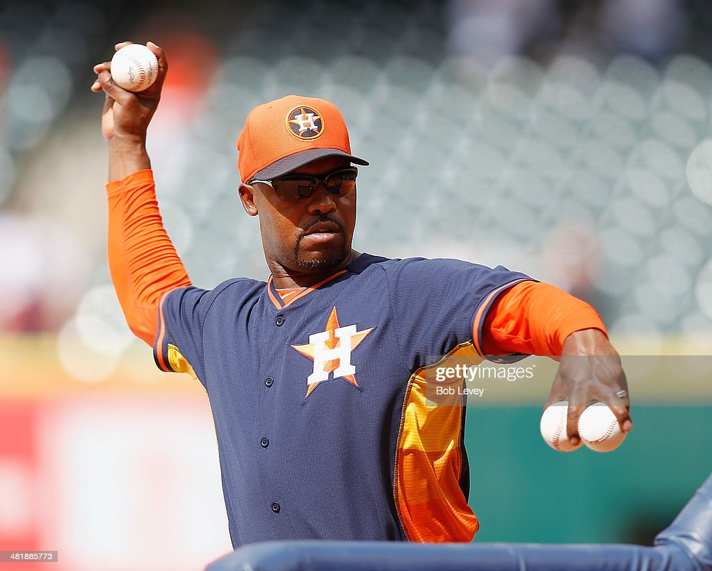Bo Porter #16 of the Houston Astros throws during practice before playing the New York Yankees on opening day at Minute Maid Park on April 1, 2014 in Houston, Texas.