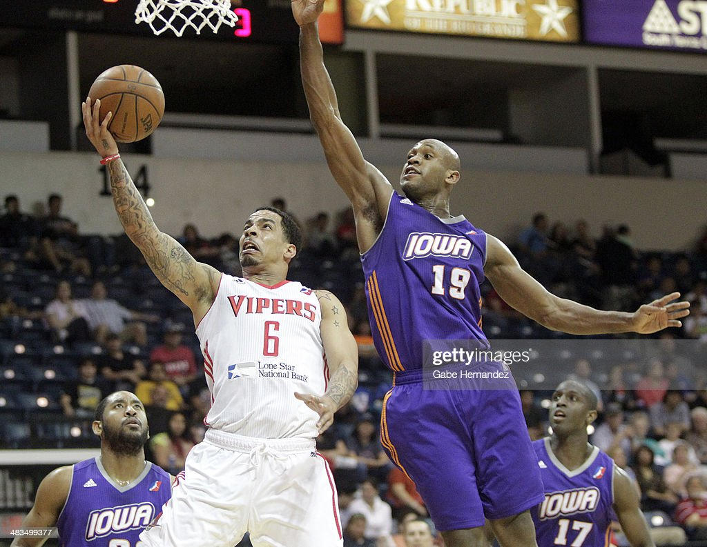 Bo Spencer #6 of the Rio Grande Valley Vipers takes the ball to the basket against Patrick Christopher #19 of the Iowa Energy on April 8, 2014 during game one first round of the 2014 NBA-Development League playoffs at the State Farm Arena in Hidalgo, Texas.