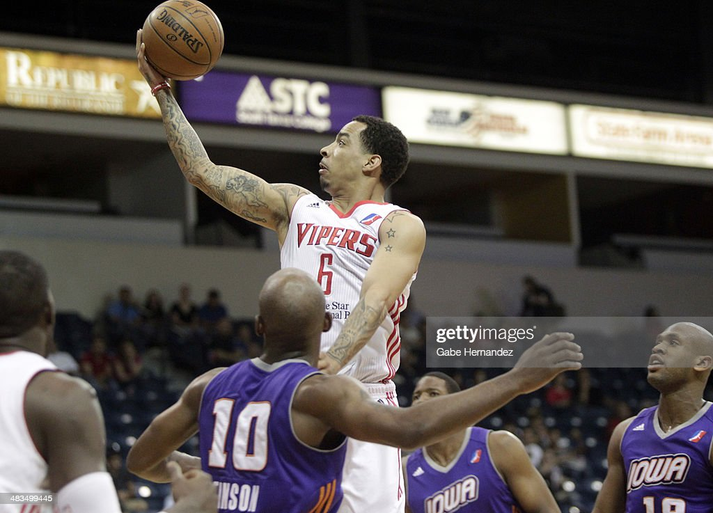 Bo Spencer #6 of the Rio Grande Valley Vipers takes the ball to the basket against the Iowa Energy on April 8, 2014 during game one first round of the 2014 NBA-Development League playoffs at the State Farm Arena in Hidalgo, Texas.