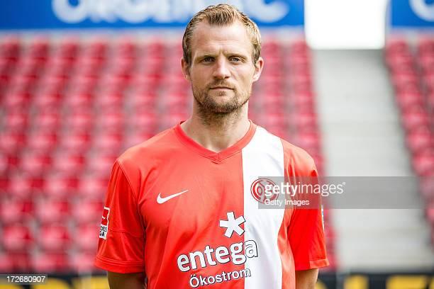 Bo Svensson of Mainz poses during the Bundesliga team presentation of FSV Mainz 05 at Coface Arena on July 4 2013 in Mainz Germany