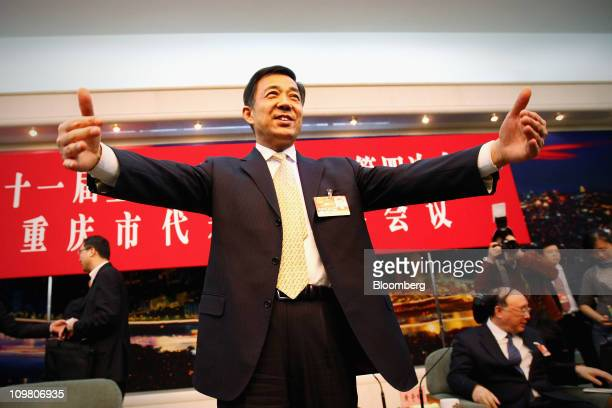 Bo Xilai Secretary of Chongqing Municipal Committee of the Communist Party of China attends a meeting during the annual National People's Congress at...