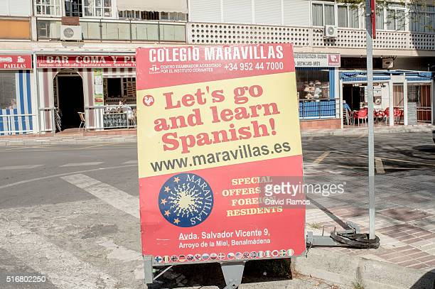 A board announcing Spanish language lessons is seen on March 17 2016 in Benalmadena Spain Spain is Europe's top destination for British expats with...