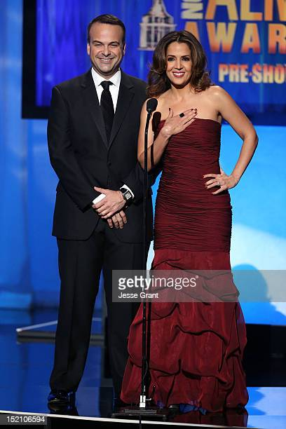 Board Chair Jorge Plasencia and actress Maria CanalsBarrera speak onstage at the 2012 NCLR ALMA Awards PreShow at Pasadena Civic Auditorium on...