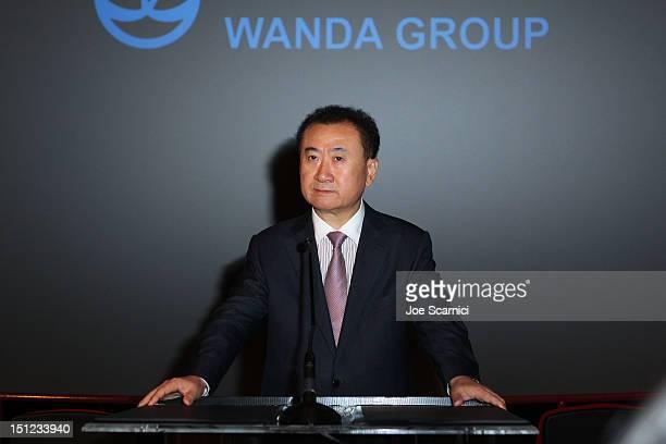 Board Chairman and President of Dalian Wanda Group Co Ltd Wang Jianlin speaks at the Wanda and AMC press conference at AMC 15 Theatres on September 4...