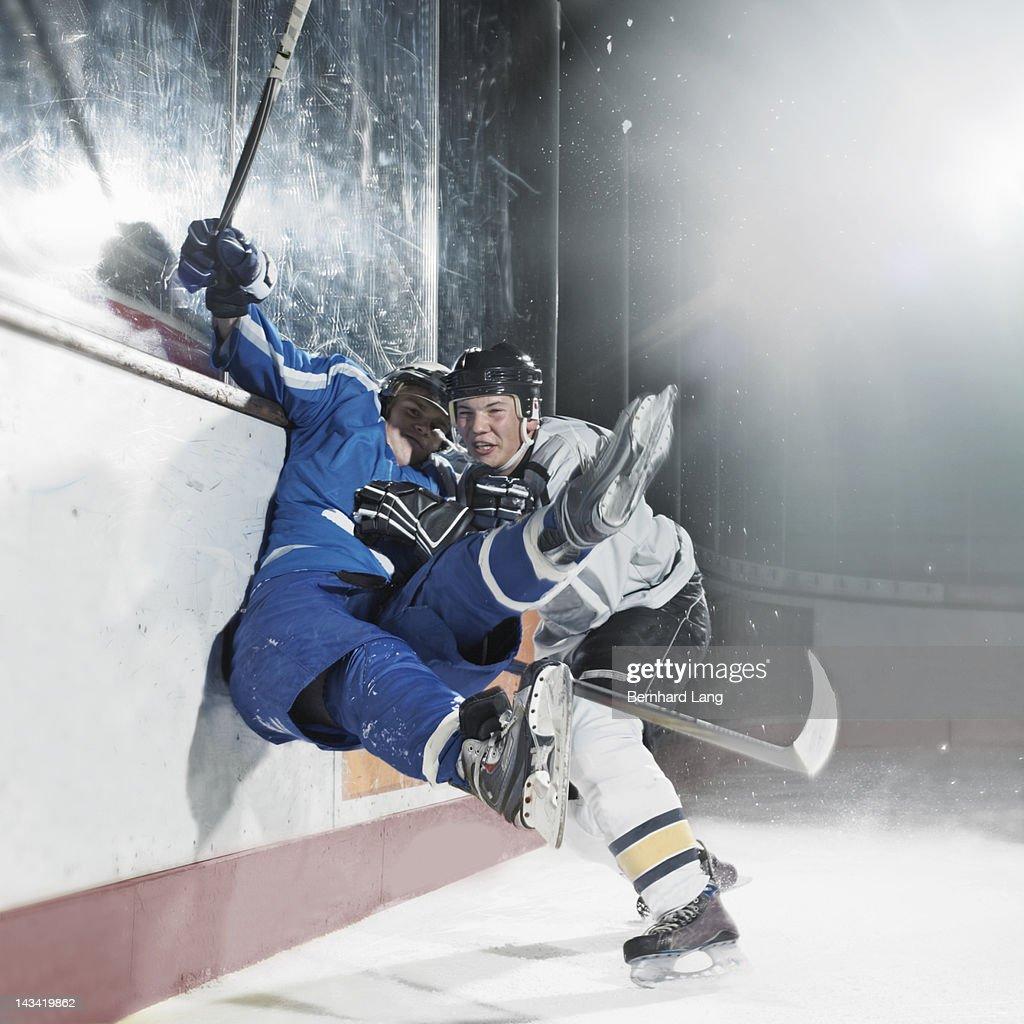Board check, Ice hockey players : Stock Photo
