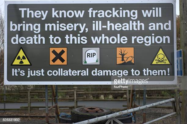 A board demonstrating the dangers of and opposition to fracking WestbywithPlumbton Lancashire England