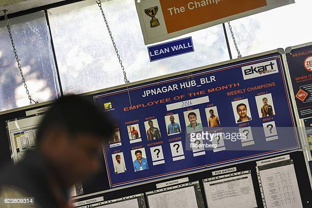 A board displaying employees of the month hangs inside Flipkart Online Services Pvt office in the Jayaprakash Narayan Nagar area of Bengaluru India...