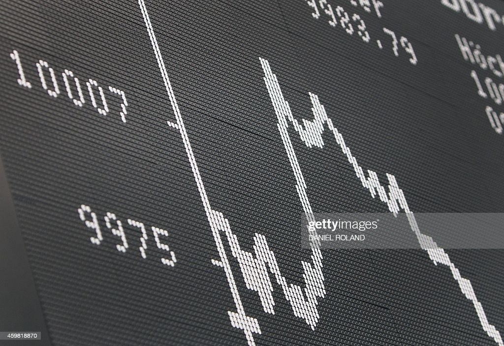 A board displays the chart of the German share index DAX on December 2 2014 at the German Stock Exchange in Frankfurt am Main western Germany The DAX...