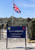 A board is pictured in front of an Union Jack during the 'Flandres' BritishFrench military exercises on June 27 2011 at the Command Post Training...
