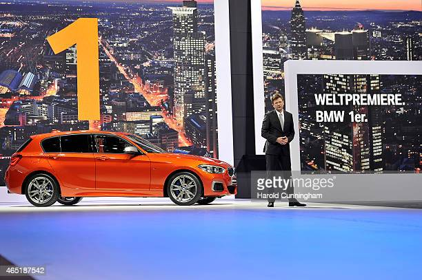 Board Management Member Klaus Froehlich presents the new BMW M135i during the 85th International Motor Show on March 3 2015 in Geneva Switzerland The...
