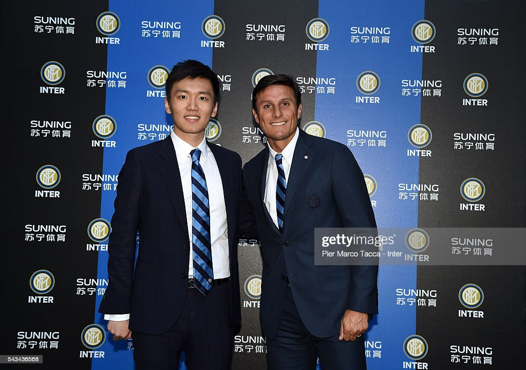 Board Manager of FC Internazionale Steven Zhang and <a gi-track='captionPersonalityLinkClicked' href=/galleries/search?phrase=Javier+Zanetti&family=editorial&specificpeople=206966 ng-click='$event.stopPropagation()'>Javier Zanetti</a> attend a dinner after the FC Internazionale Shareholder's Meeting on June 28, 2016 in Milan, Italy.