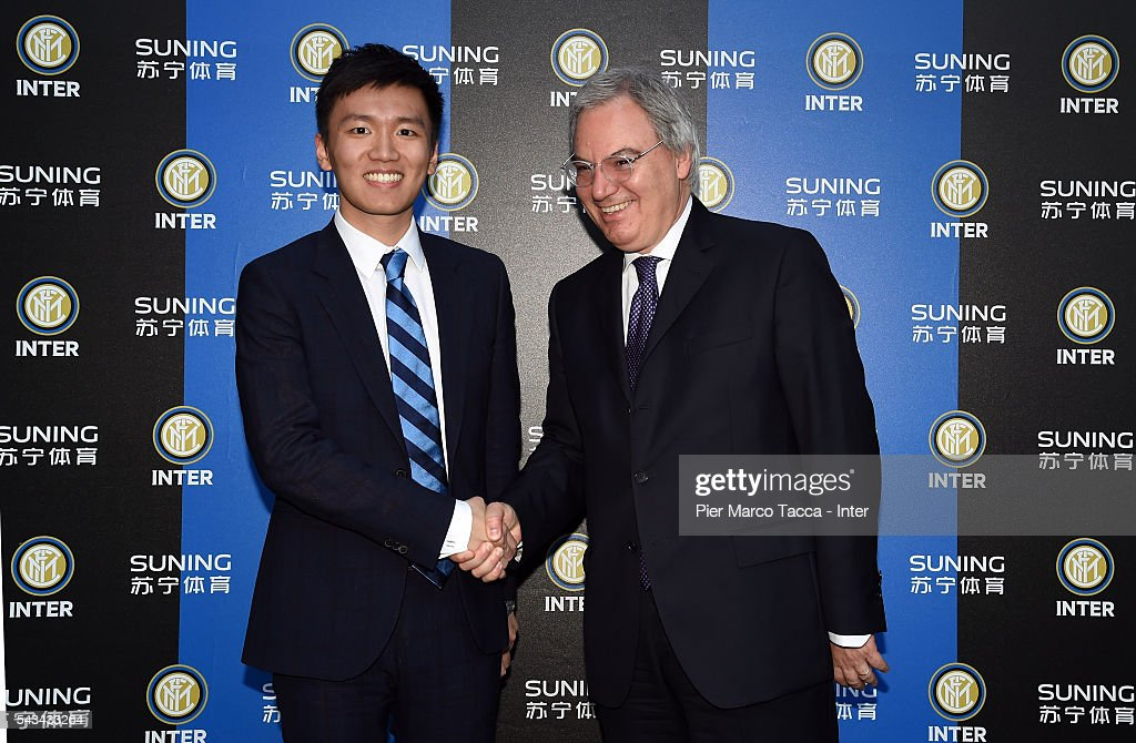Board Manager of FC Internazionale Steven Zhang and Maurizio Beretta President of the Lega Calcio Serie A attend a dinner after the FC Internazionale Shareholder's Meeting on June 28, 2016 in Milan, Italy.