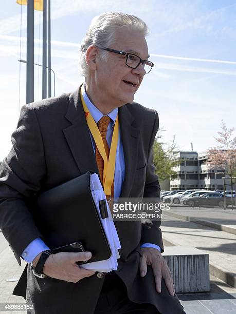 Board Member and representative of the founding family Urs Burkard arrives on April 14 2015 to a general assembly in Baar central Switzerland The...