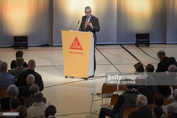 Board Member and representative of the founding family Urs Burkard address general assembly in Baar central Switzerland on April 14 2015 The annual...
