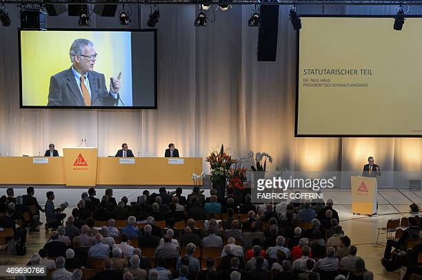 Board Member and representative of the founding family Urs Burkard addresses shareholders during a general assembly in Baar central Switzerland on...
