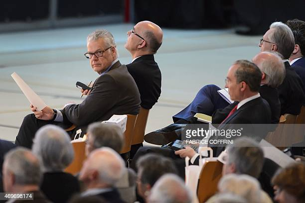 Board Member and representative of the founding family Urs Burkard looks over on April 14 2015 during a general assembly in Baar central Switzerland...