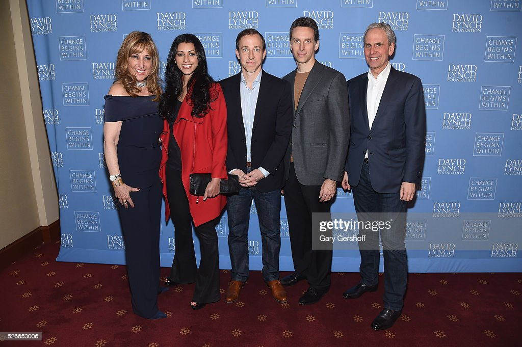 Board Member, David Lynch Foundation, Joanna Plafsky, actress Reshma Shetty, 'Royal Pains' Executive Producer Michael Rauch, actor Ben Shenkman and Executive Director of The David Lynch Foundation, Bob Roth attend 'An Amazing Night of Comedy: A David Lynch Foundation Benefit for Veterans with PTSD' on April 30, 2016 in New York City.
