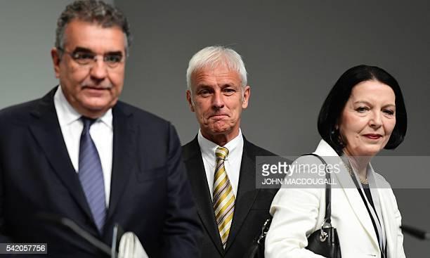 VW board member Francisco Javier Garcia Sanz VW CEO Matthias Mueller VW board member Christine HohmannDennhardt attend German carmaker Volkswagen...