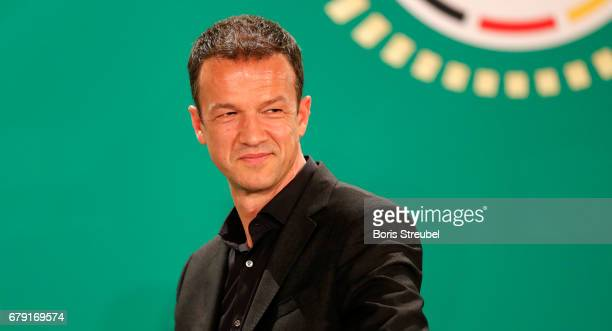 Board member Fredi Bobic of Eintracht Frankfurt looks on during the DFB Cup Handover at Wappensaal of the Rote Rathaus on May 5 2017 in Berlin Germany
