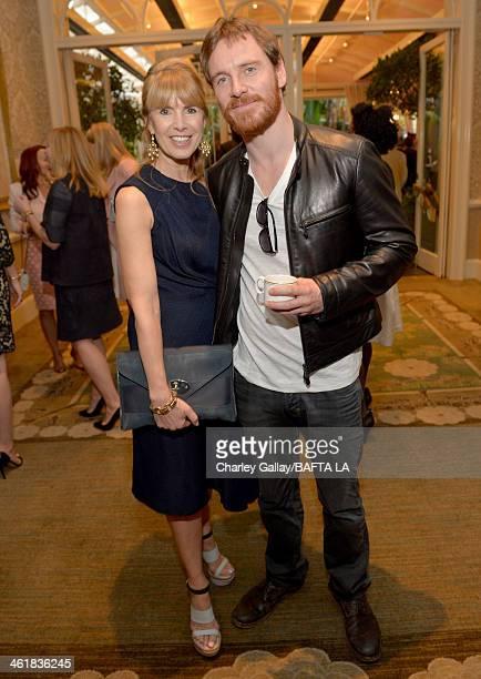 BAFTA board member Julia Verdin and actor Michael Fassbender attend the BAFTA LA 2014 Awards Season Tea Party at the Four Seasons Hotel Los Angeles...