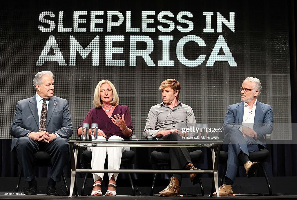 NTSB board member Mark Rosekind, Eve Van Cauter, MS, PhD, Director of the Sleep and Neuroimaging Laboratory at the University of California, Berkeley, Matthew Walker and Director and executive producer John Hoffman speak onstage at the 'Sleepless in America' panel during the National Geographic Channels portion of the 2014 Summer Television Critics Association at The Beverly Hilton Hotel on July 8, 2014 in Beverly Hills, California.