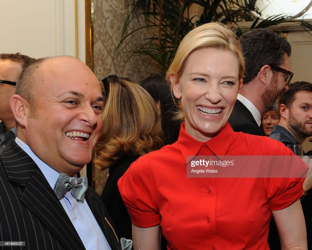 BAFTA board member Nigel Daly (L) and actress <a gi-track='captionPersonalityLinkClicked' href=/galleries/search?phrase=Cate+Blanchett&family=editorial&specificpeople=201621 ng-click='$event.stopPropagation()'>Cate Blanchett</a> attend the 2014 BAFTA Los Angeles Awards Season Tea Party presented by Jaguar Land Rover and Mulberry at the Four Seasons Hotel Los Angeles at Beverly Hills on January 11, 2014 in Los Angeles, California.
