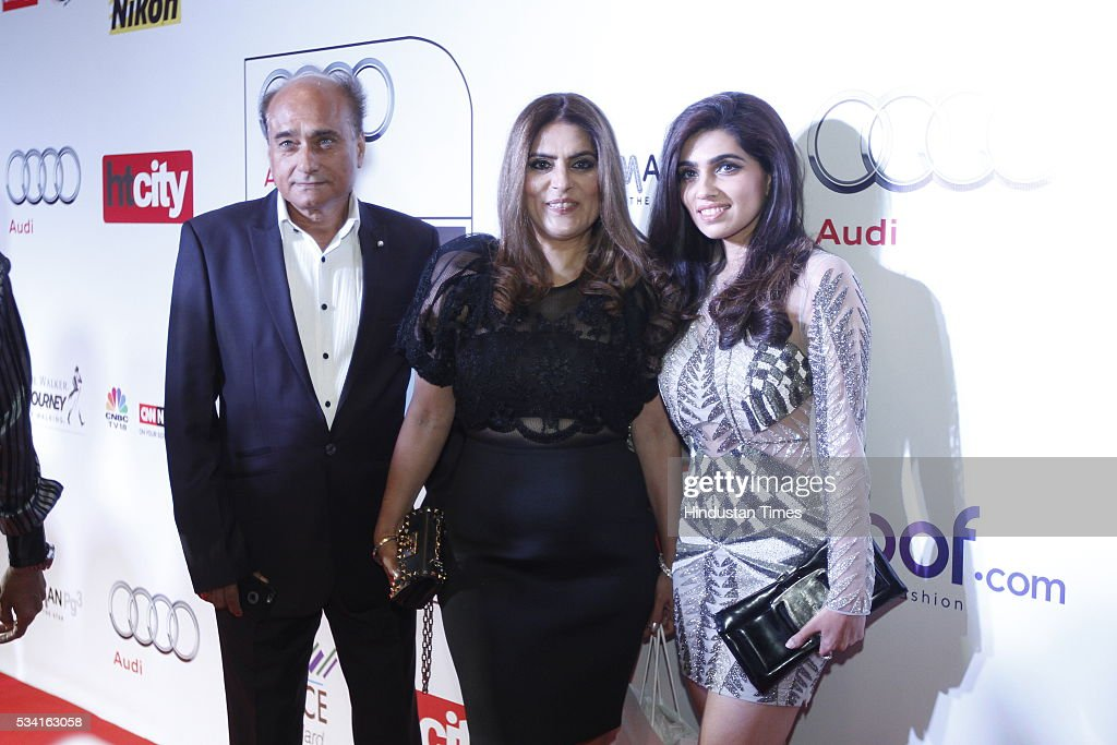 FDCI board member Sunil Tandon with designer Reynu Taandon and Nikhita Tandon arriving at red carpet for Hindustan Times Most Stylish Awards 2016 at hotel JW Marriot, Aerocity on May 24, 2016 in New Delhi, India.